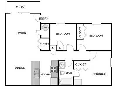 3 bed, 1 bath floor plan